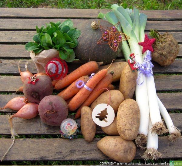 Panier à 20€ (exemple) : 1 kg de carottes, 800 g de poireaux, 200g de mâche, 2 kg de patates , 250 g d'échalotes, 500g de betterave crue, 1 potimarron, moyen, 1 céleri.