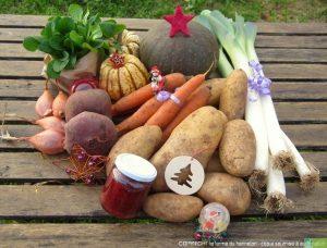 Panier à 30€ (exemple)  :  1 kg de carottes, 1 kg de poireaux, 300g de mâche, 3 kg de patates, 250 g d'échalotes, 500g de betteraves crues, 1 potimarron moyen, 2 patidous, 1 petit pot de confiture.