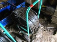pause matériel : les rouleaux d'arrosage qui nous servent à stocker les gaines de goutte à goutte